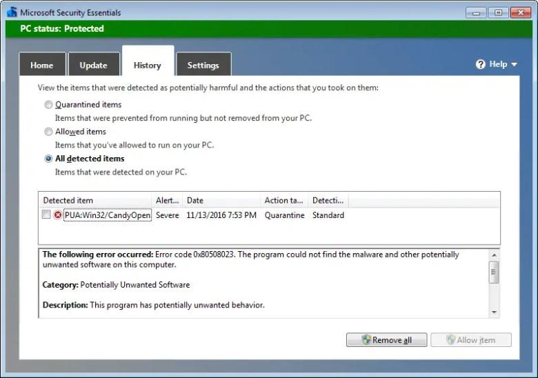 habilitar a proteção de adware no Microsoft Security Essentials