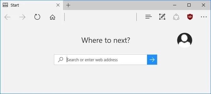 edge address bar show default