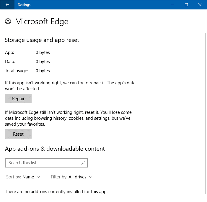 repair and reset microsoft edge fall creators update