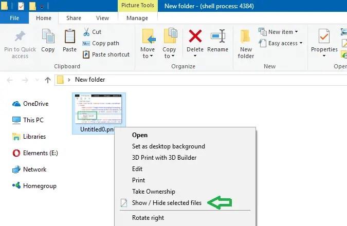 show or hide Selected Files context menu