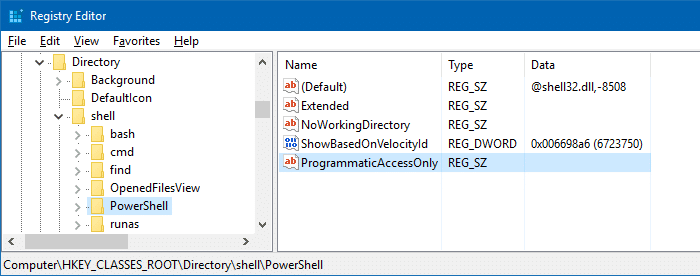 remove powershell here right-click menu