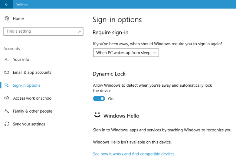 dynamic lock or windows goodbye