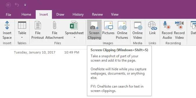 onenote screen clipping shortcut keys