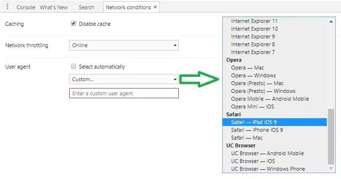 chrome change user agent string