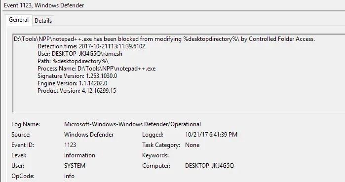 Configure Controlled Folder Access - event log