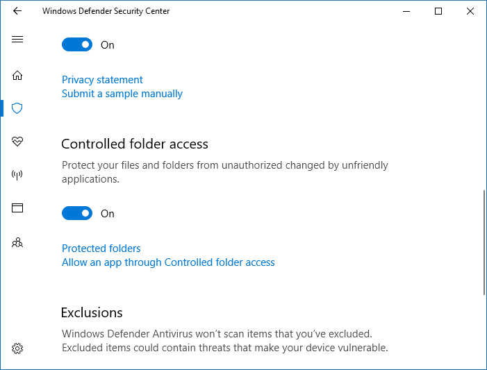 Configure Controlled Folder Access to Stop Unauthorized changes blocked Notifications - Enabling Controlled folder access