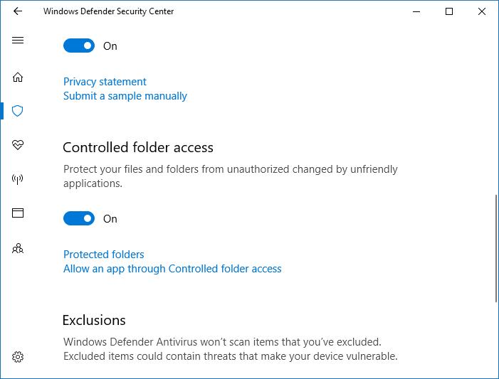 Enabling Controlled folder access - Windows Defender