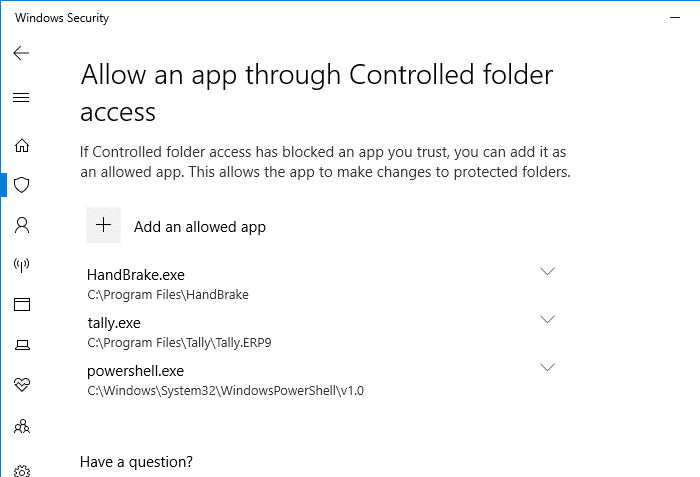 Configure Controlled Folder Access to Stop Unauthorized changes blocked Notifications - allow powershell from recently blocked apps - controlled folder access