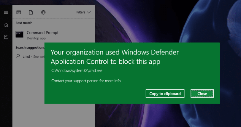 Your organization used Windows Defender Application Control to block this app
