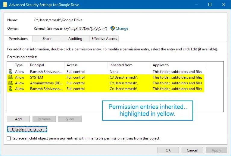 google drive folder inherited permissions