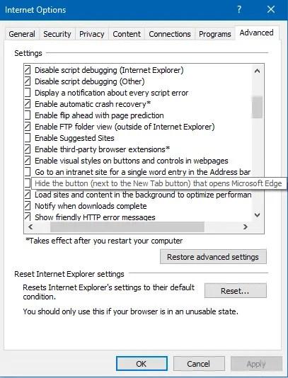 hide the edge button  near new tab button