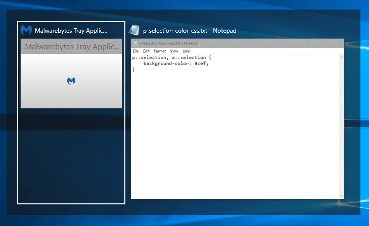 malwarebytes tray app in alt - tab window