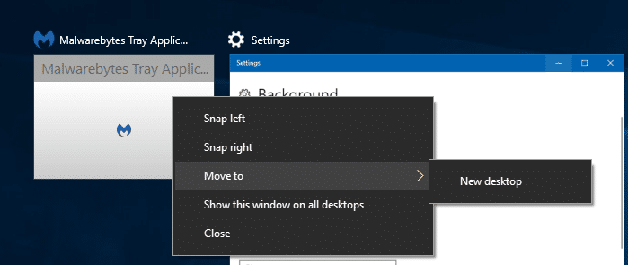 move malwarebytes tray app to new virtual desktop