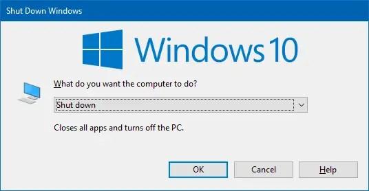 classic shutdown dialog windows