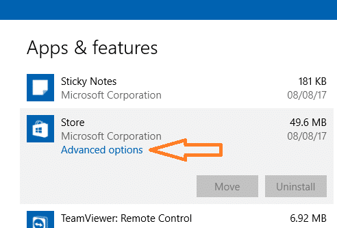 windows store app reset