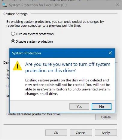 system restore reset 80042308