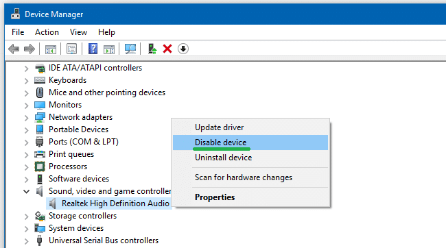 disable and enable audio hardware device manager