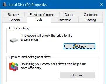 disk error check tools tab windows