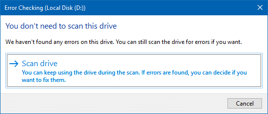 disk error check - scan drive