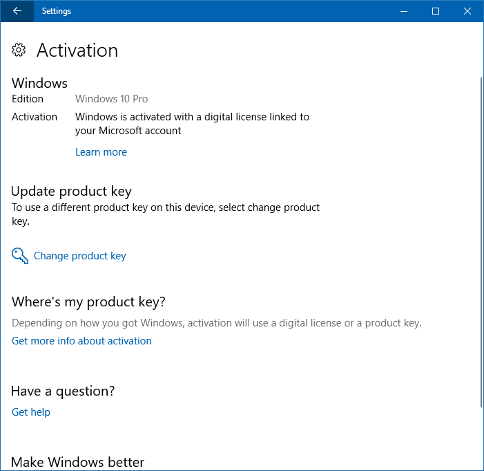 change product key in windows 10