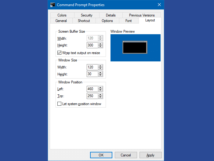 How to Set Command Prompt Default Window Size and Position