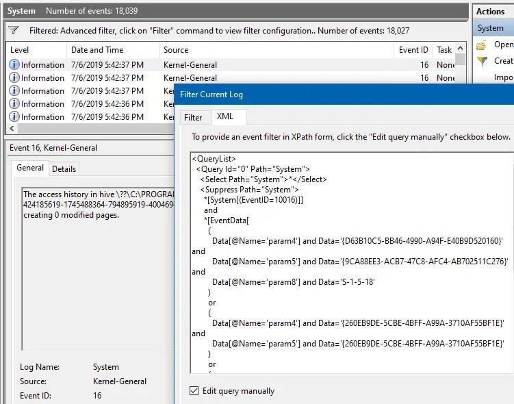 dcom error filter event log xml