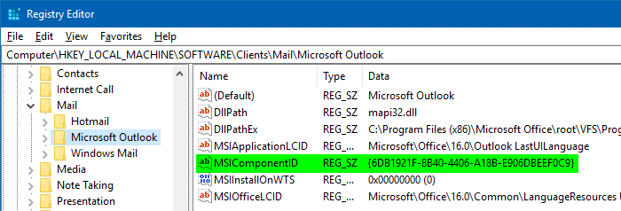 outlook mapi msicomponentid snipping tool error