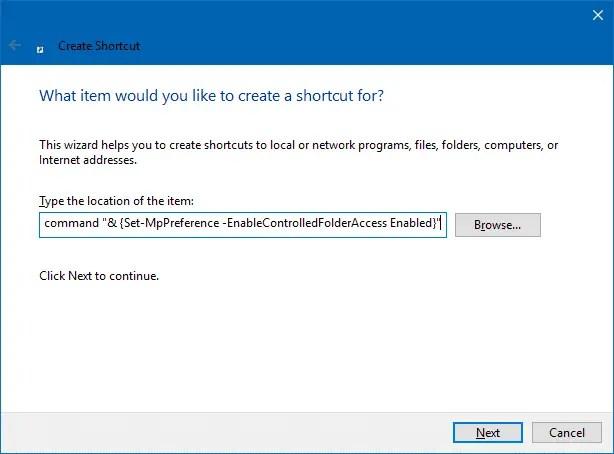 enable disable controlled folder access desktop shortcuts