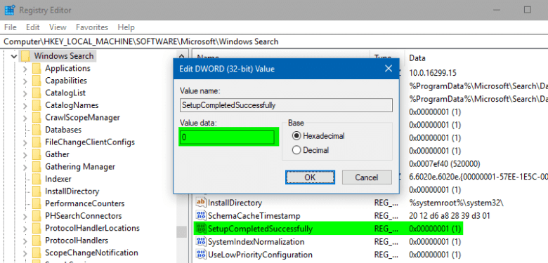 reset search registry setupcompletedsuccessfully