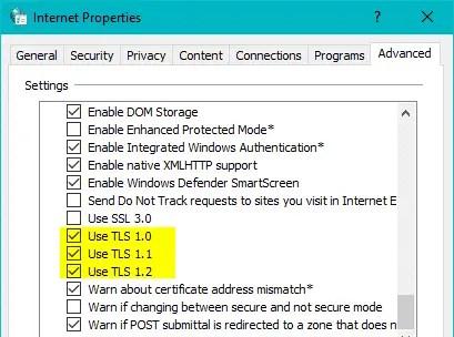 enable tls internet options windows store