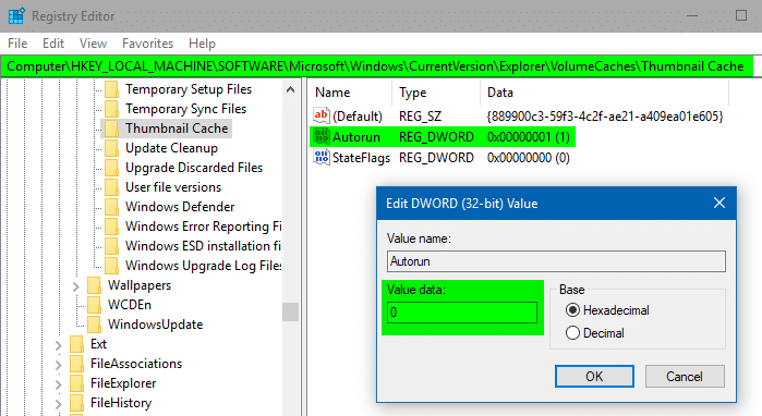 disk cleanup thumbnail cache autorun disable