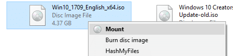 mount an iso file right-click menu