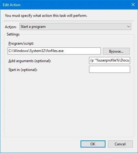 delete files older than x days in windows task scheduler