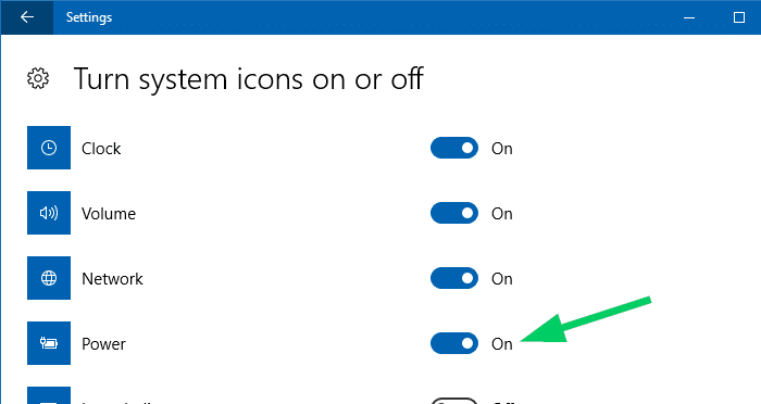 turn system icons on or off power battery icon