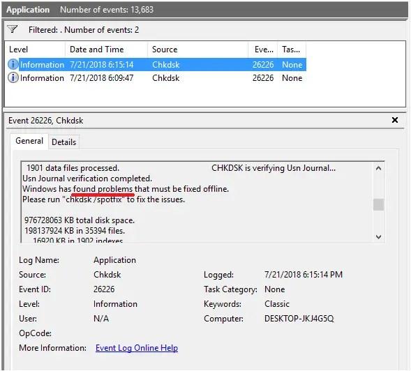 error checking - application event log error