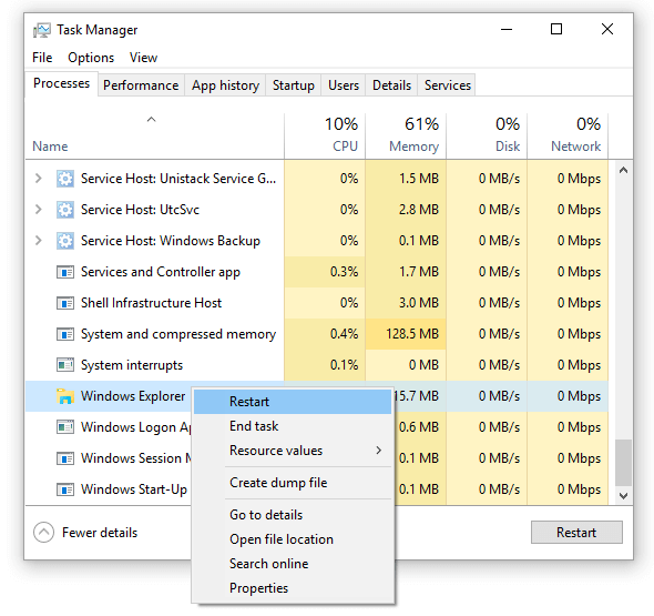 cleanly restart explorer via task manager