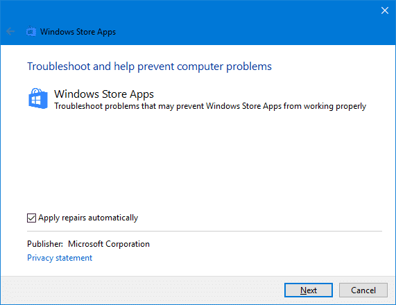 windows store apps troubleshooter window