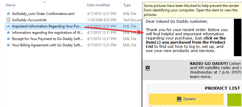 .eml file preview in file explorer preview pane