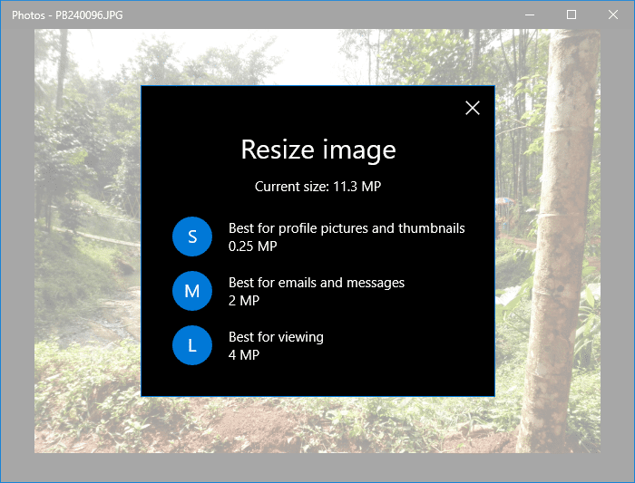 resize images photos app - three choices