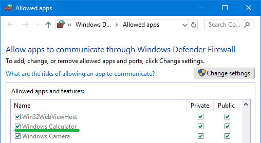 windows calculator firewall exception