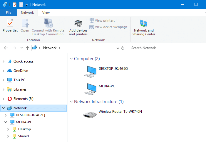 this pc - network - list of computers
