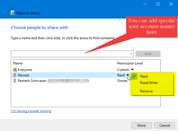 share files without HomeGroup in windows - give access to