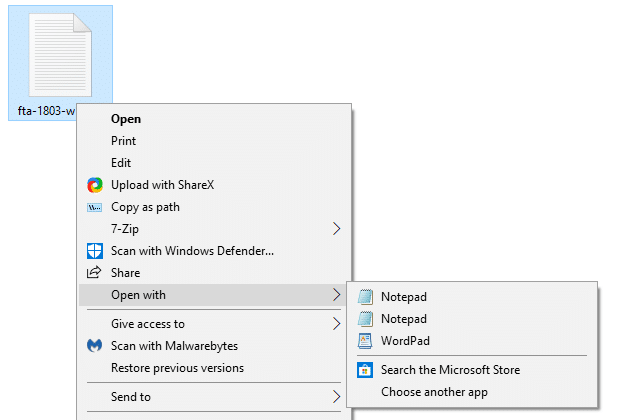 notepad appears twice in open with menu