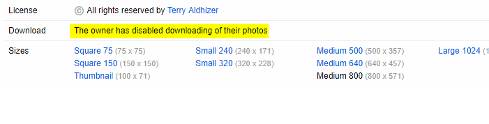 flickr photo disabled downloading by owner
