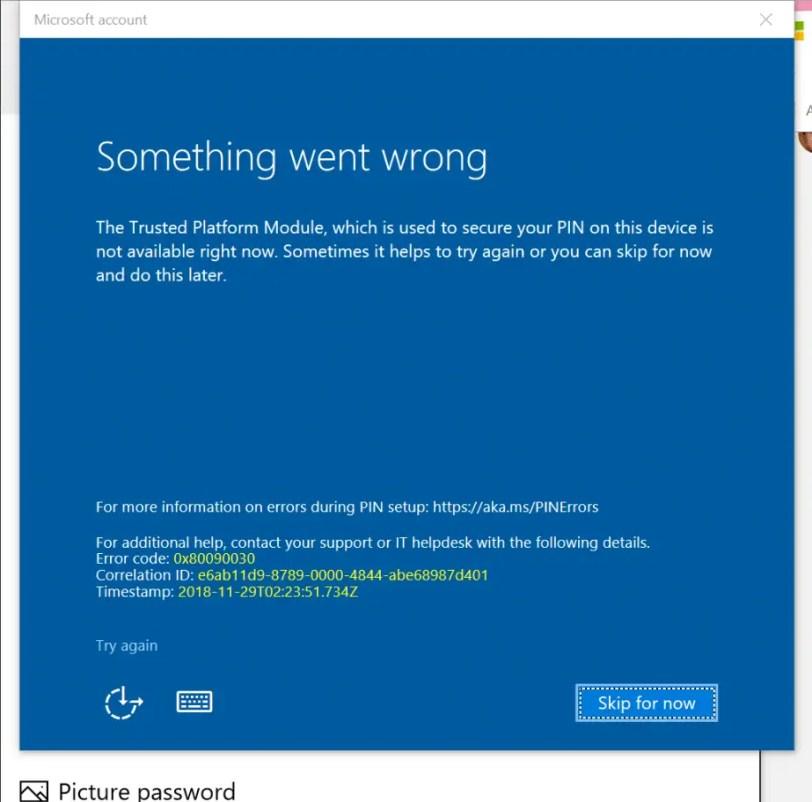 PIN login error 0x80090030 in windows 10