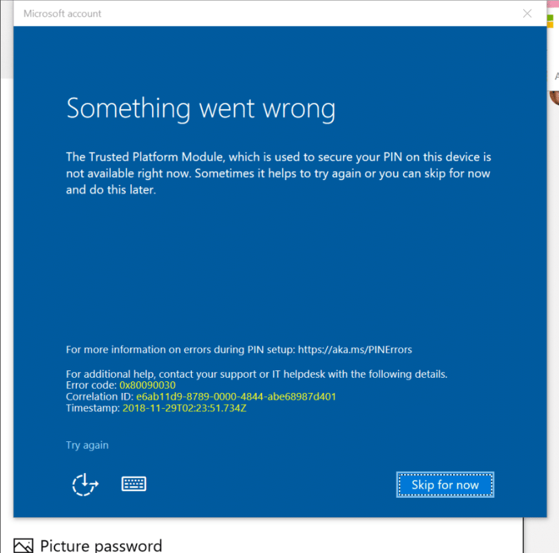 PIN login error 0x80090030 in windows 10