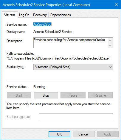 Enumerating user sessions to generate filter pools failed - acronis scheduler2
