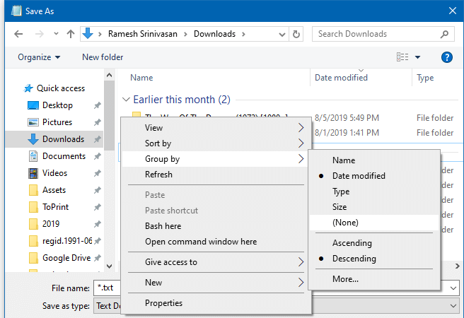 disable downloads folder grouping save as open dialog