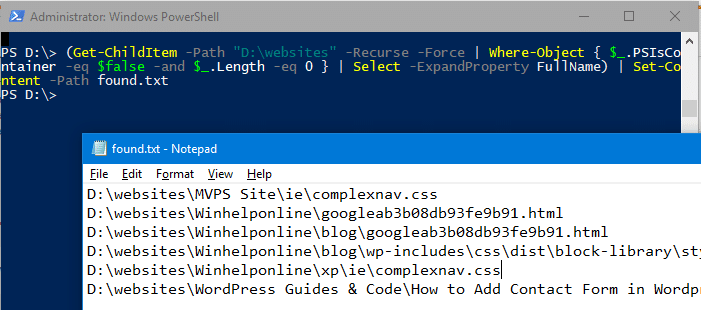 find and delete 0-byte files in windows - powershell