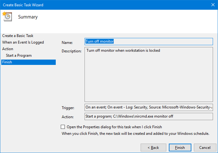 automatically turn off monitor when computer is locked